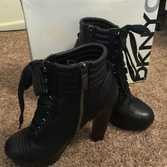 DKNY Shoes | Black Leather Laceup Boots | Poshmark