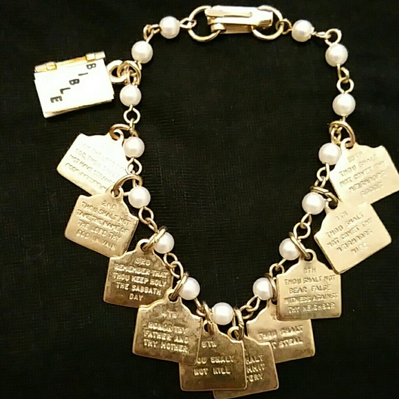 Vintage Jewelry , Vintage 10 commandments bracelet