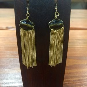 Natural Stone Fringe Chandelier Brown Earrings