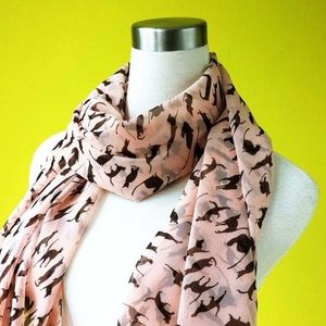 Accessories - NEW Sheer Light Pink with Black Cat Print Scarf