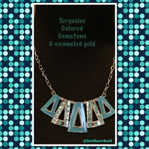 Turquoise Colored gemstone Statement Necklace