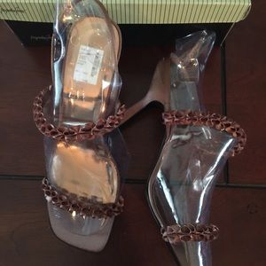 "Jacqueline Ferrar Shoes - NEW copper satin fabric sexy saddles 4"" heels"