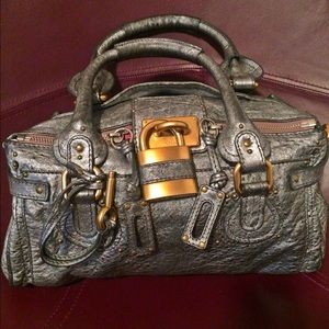 CHLOE Leather Medium Paddington Satchel in Silver