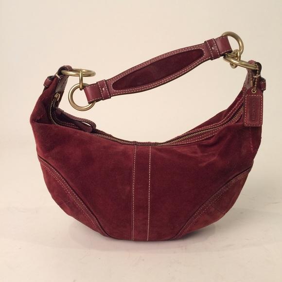 Coach Bags   Soho Zip Suede Leather Hobo Burgundy Handbag   Poshmark d90e3299c3