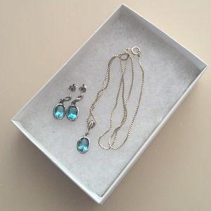 Jewelry - Blue Topaz Sterling Silver necklace Earrings Set