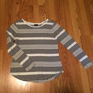 Gap Gray, Black and White Stripped Long Sleeve Top