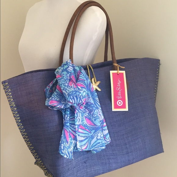 29df3223a Lilly Pulitzer for Target Bags | Blue Raffia Tote | Poshmark