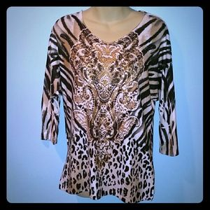 Animal print and rhinestones tunic top