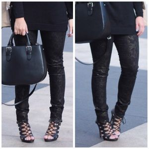 James Jeans Denim - Black + Gold Metallic Snakeskin Skinny Jeans