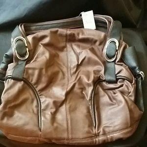 Handbags - Brown and Black Faux Leather Huge Handbag