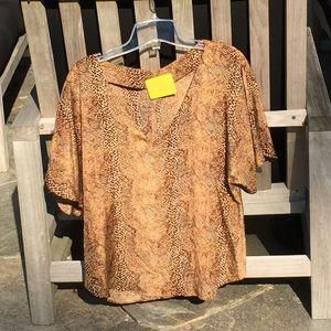 Aaron Ashe Tops - Aaron Ashe Leopard Print Silk Top