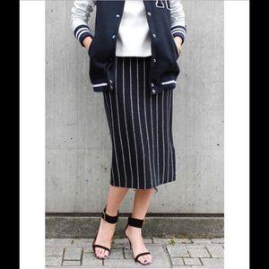 Anthropologie Dresses & Skirts - Vintage EvanPicone Navy Blue Pinstripe Skirt Sz 14