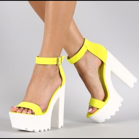 b3cabf57c44 Lounge Open Toe Neon Yellow Lug Sole Platform Heel