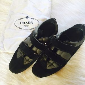Prada Shoes - = SALE = Authentic PRADA black leather sneakers