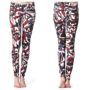 "Hudson Jeans Denim - Hudson ""Krista"" Abstract Print Cropped Jeans."