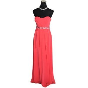 City Triangles Coral Beaded Gown Size 7 or 9 NWT