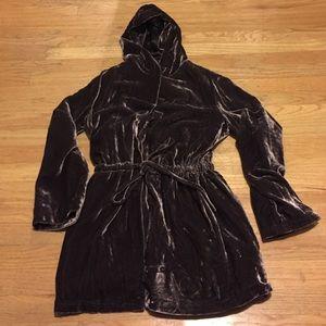J Jill Jackets & Blazers - Luxe chocolate brown Velvet Hoodie