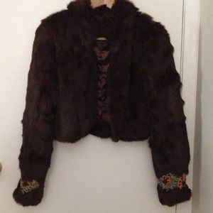 Brand new Espresso/ Dark Brown Rabbit Fur Jacket