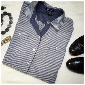 Chambray blue striped button down.