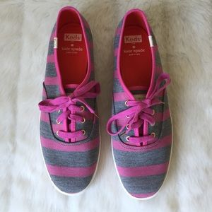 New Kate Spade Keds Pink Grey Striped Shoes Flats