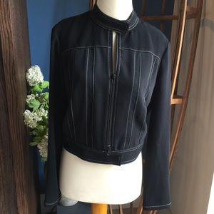 Drama Black Polyester Front Zip Jacket Excellent 4