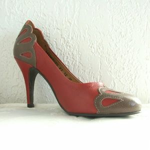 FLY London Shoes - FLY London Retro style heel red leather
