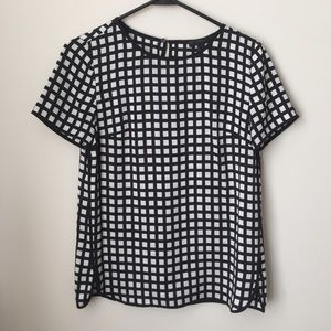 J. Crew Tops - 00P checkered black & white top
