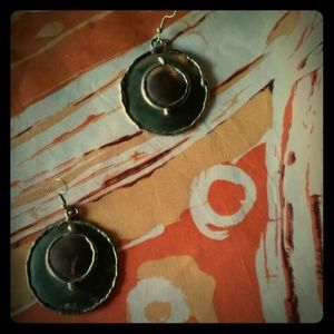 Vintage 80s mod 2 tone copper brass earrings