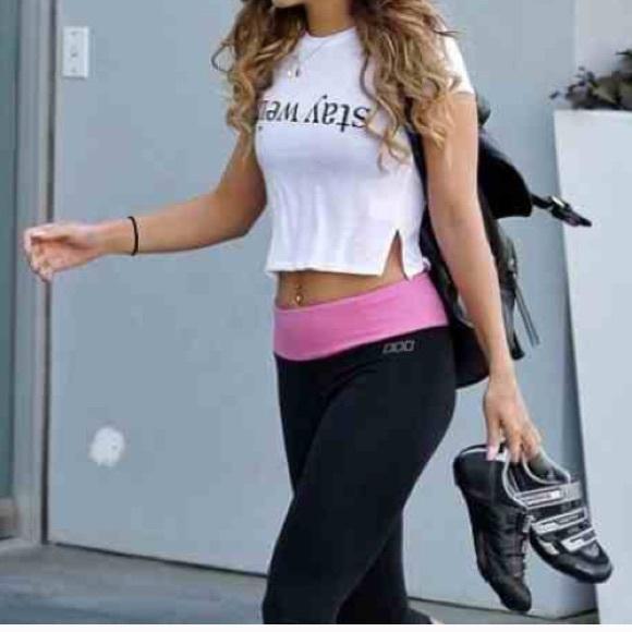 f363e8993d88f PINK Victoria's Secret Black Pink Yoga Pants