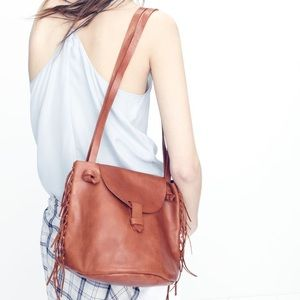 Madewell Handbags - NWT Madewell Brown Leather Fringe Bucket Bag