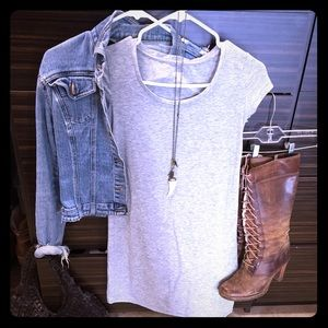 Dresses & Skirts - Grey cotton t-shirt dress. Frye boots  for sale