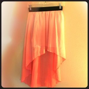 Peach colerd high low skirt size S from forever 21