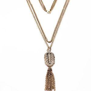HP  Pavé Stone Leaf Triple Pendant Necklace