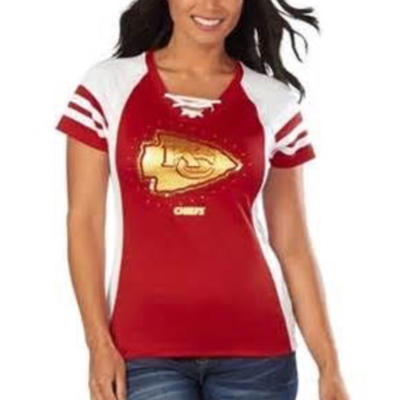 Gold Sequined Womens Kc Chiefs Jersey