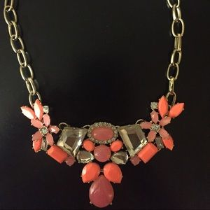 J Crew Pink and Coral Crystal Statement Necklace