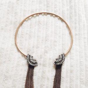 Zara Jewelry - | REDUCED | ZARA Rhinestone/Fringe Collar Necklace