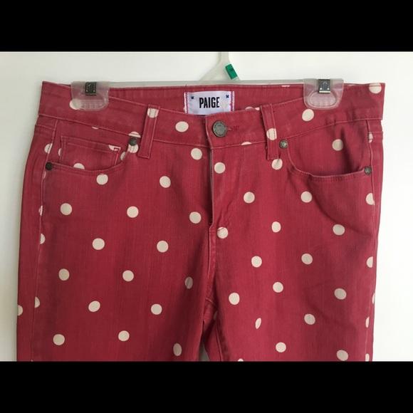 Paige denim polka dot verdugo skinny jeans redwhite poshmark paige polka dot verdugo skinny jeans redwhite sisterspd