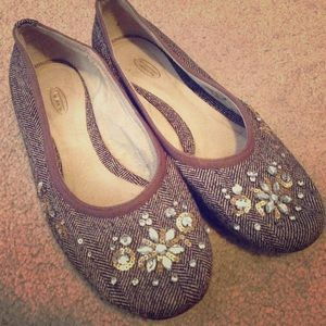 Talbots brown tweed flats