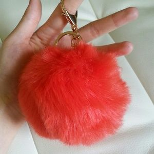Puff fur charm keychain red