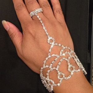 Jewelry - Attached rhinestone bracelet & ring!