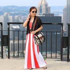 Red-orange and white striped maxi dress