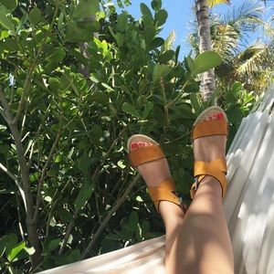 Orange Suede Espadrille Flats with Buckle