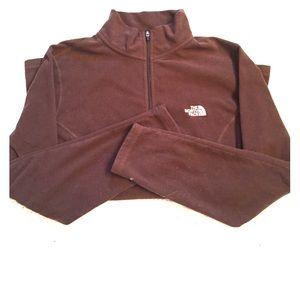 North Face Brown TKA 100 Fleece 1/4 Zip Pullover