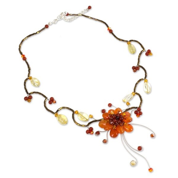 nwot gemstone quot flower quot choker thailand os from