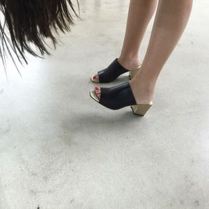 Zara Slide On Mules with Gold Heel