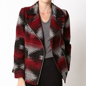 Abstract Print Moto Jacket