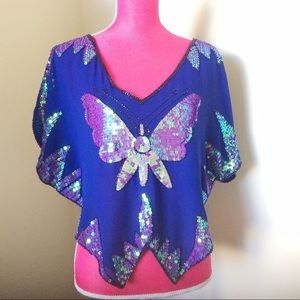 Free People Cobalt Iridescent Butterfly Top