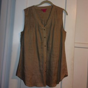 Brown Button No Sleeve Top