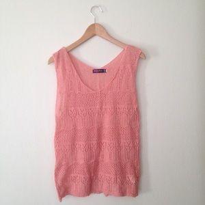 Tops - Pink Crochet Knit Sleeveless Top