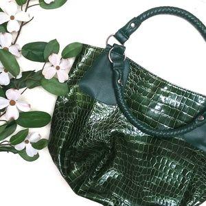 Handbags - Faux Leather & Snake Skin Green Purse